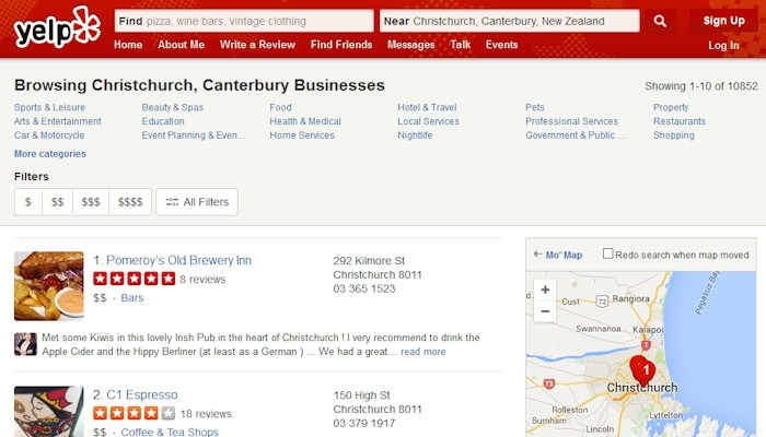 Yelp online directory