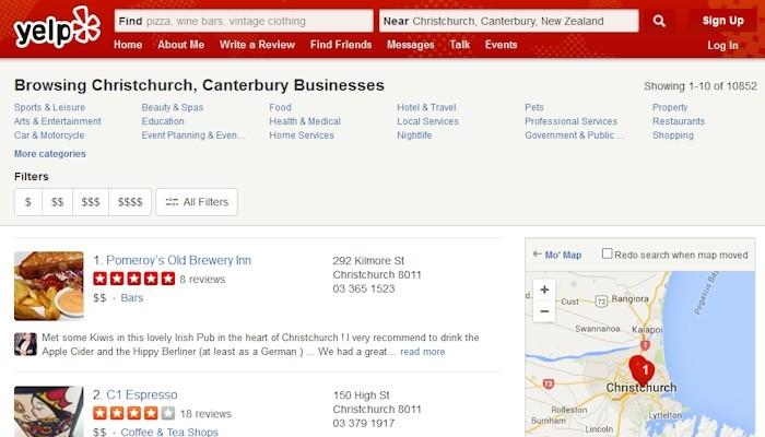 Yelp online directory